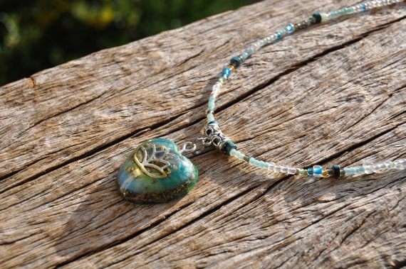Beaded Necklace Heart with LOTUS Orgonite® pendant Necklace with Clear Quartz
