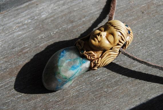 Ajoite Chrysocolla Goddess Pendant Necklace Handsculpted Clay Gemstone