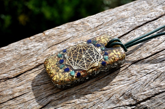 STAR TETRAHEDRON Orgonite® Orgone Amulet with raw Azurite and Chrysocolla XL - Free Delivery