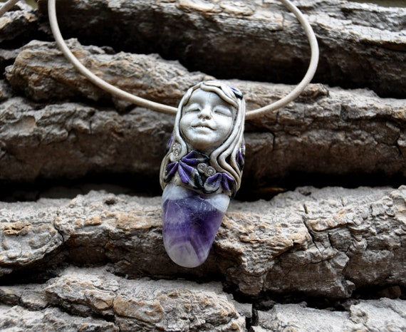Chevron Amethyst Sweet Angel Pendant Necklace