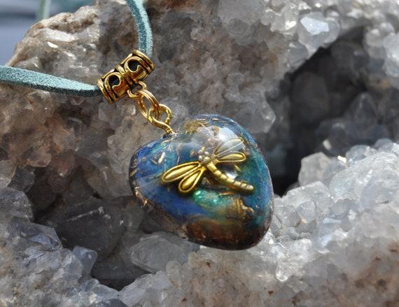 Dragonfly Orgonite®  Orgone pendant necklace, Heart Shape