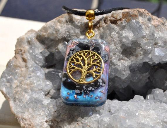 Snowflake Obsidian Orgonite® orgone Pendant, Tree of Life Necklace, Unisex