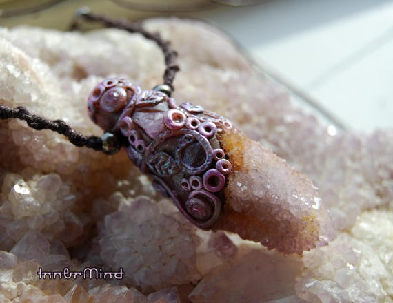 Ametrine SPIRIT Quartz Clay Gemstone Pendant Necklace