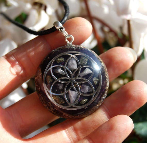 CUSTOMIZED Orgonite® Orgone Pendant = Choose your OWN gemstones and color Seed Of Life