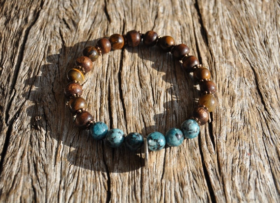 AUM Tiger Eye and Chrysocolla Bracelet for Medium or Large Wrist. Unisex FREE Delivery !
