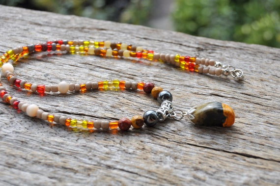 Beaded Bumblebee Jasper Necklace Unisex - FREE Shipping !