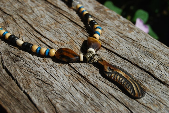 Carved Feather Pendant, Ethnic Tribal beaded Men's Necklace