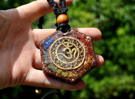 Chakra AUM Hexagon Merkaba Orgonite® Pendant Necklace on Macrame Cord