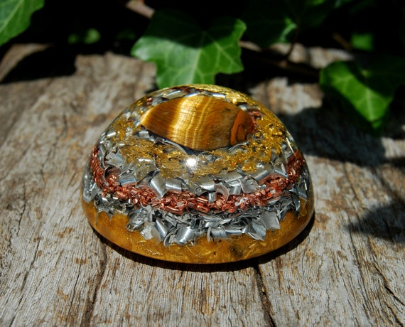 Tiger Eye LARGE Dome Orgonite®Orgone Generator® with 24K GOld