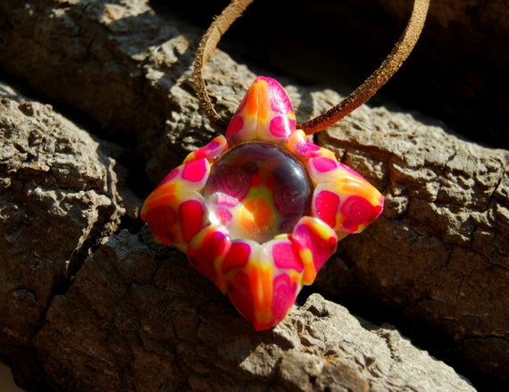UV Blacklight Clay Glass Pendant Necklace - FREE Shipping !