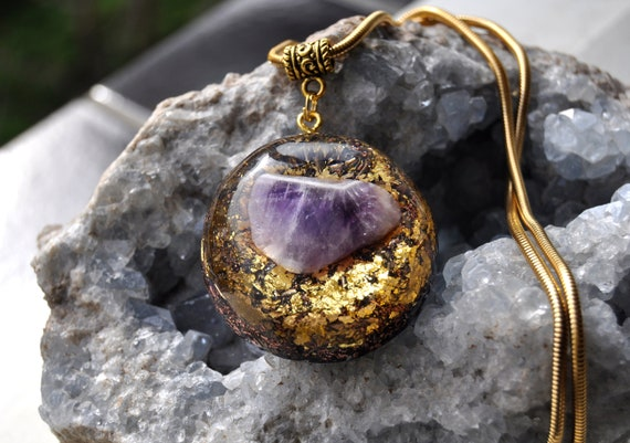 Large Amethyst Orgonite® Pendant , Stainless steel Necklace with 24K Gold