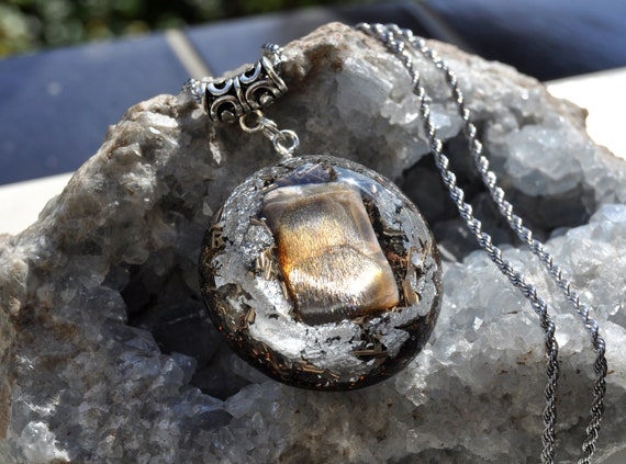 Golden Fire Black Moonstone Orgonite® Necklace with 925 Silver