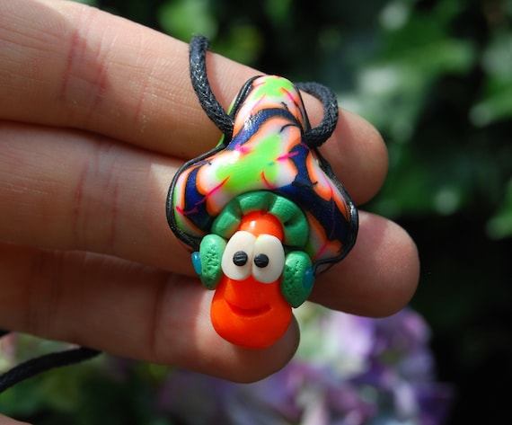 Mushroom with Earphones Necklace UV Active, Psychedelic Handsculpted Clay Pendant, Love Music DJ