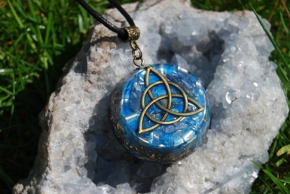 Triquetra Orgonite® Orgone Pendant with Blue Kyanite Necklace - FREE Shipping !