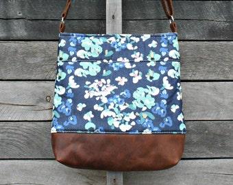 Crossbody Bag, Denim  Floral, Leather Crossbody Bag, Handbag, Purse, Shoulder Bag, Women's