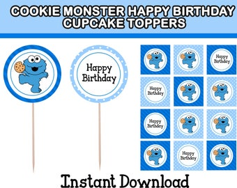 Cookie Monster  Happy Birthday  Cupcake Topper Instant Download