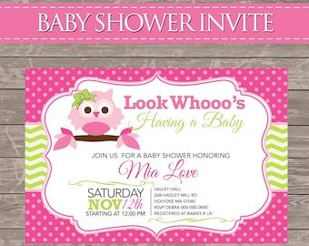 Pink Owl Baby Shower Invite