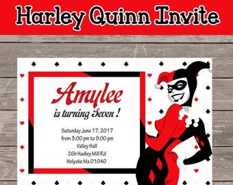 Harley Quinn Invite (digital file only)