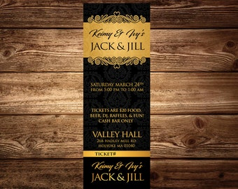 Jack & Jill tickets gold and black