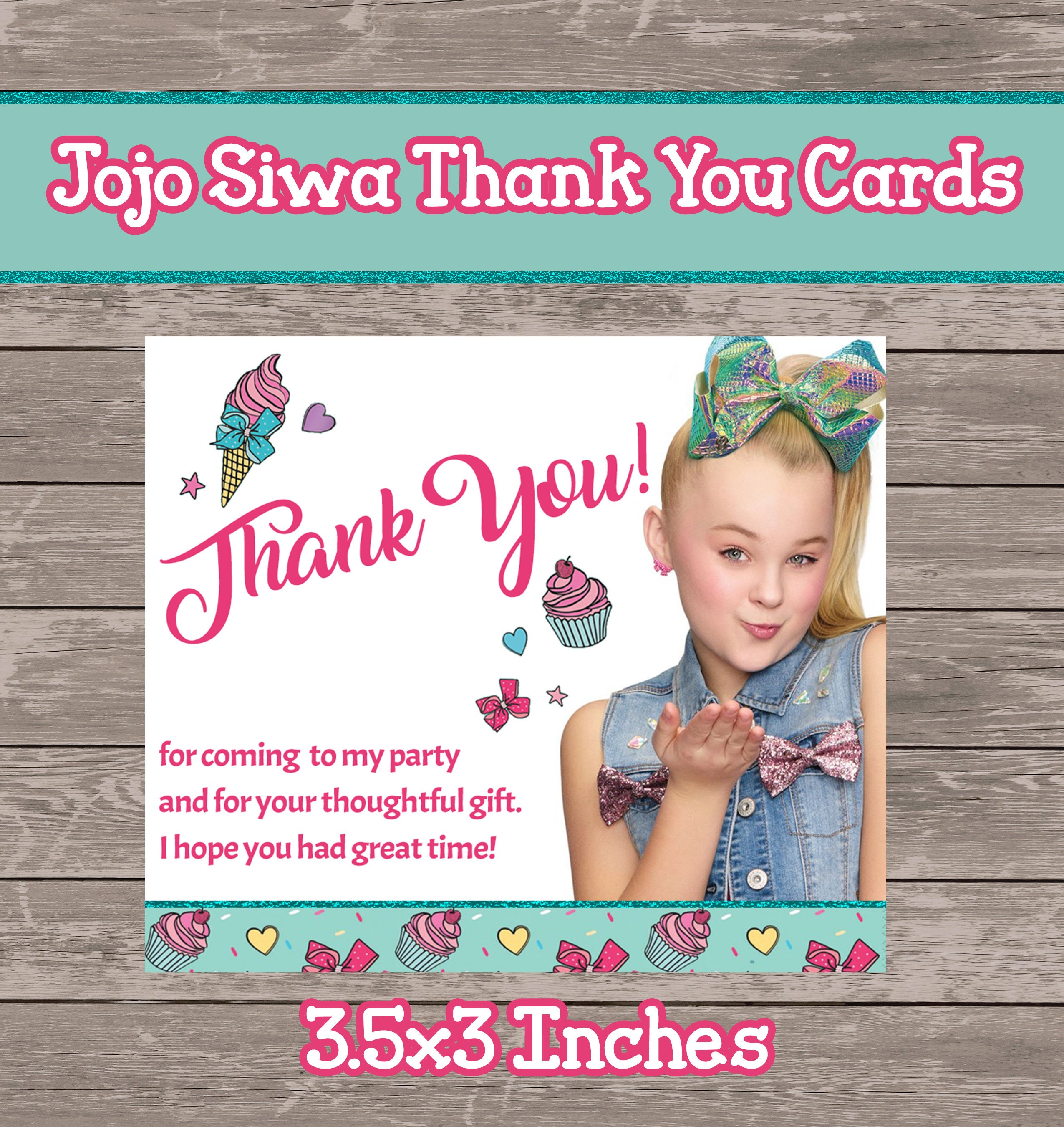 Jojo Siwa Thank You Tags Etsy