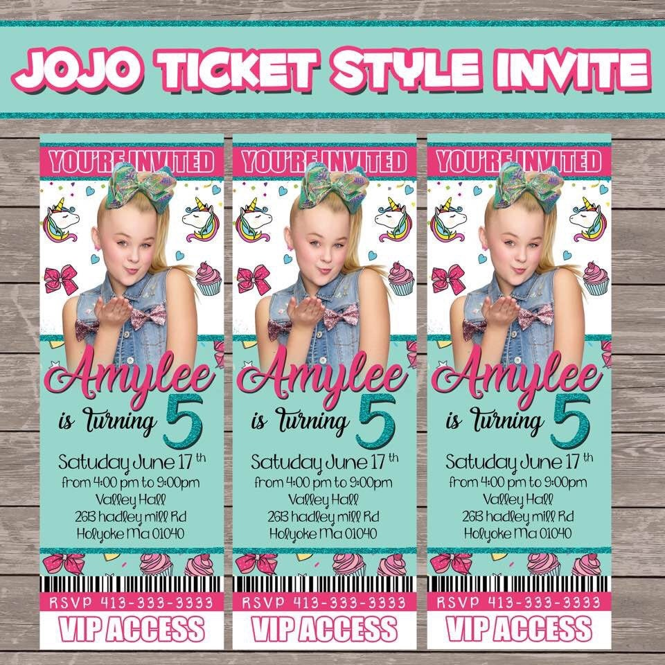 Jojo Siwa 30 Prints Ticket Style Party Invitations Prints Etsy