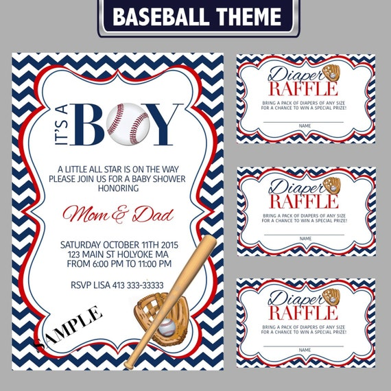 baseball theme baby shower invitation and diaper raffle etsy