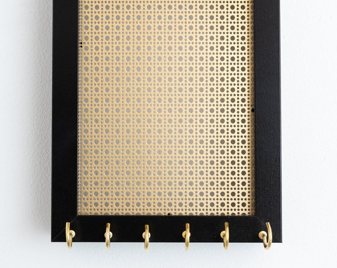 5X7 Hanging Jewelry Organizer - Black Frame - Gold Metal Screen - Hook Earring and Necklace Holder