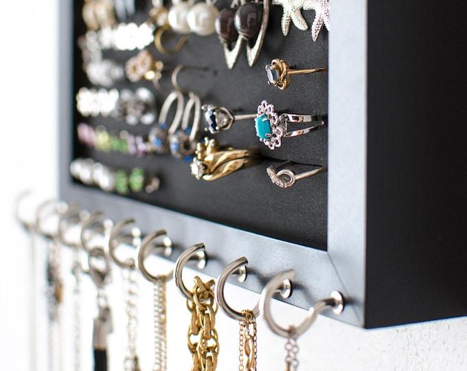 Hanging Jewelry Organizer - 8x10 Black Frame - Foam - Necklace Hooks