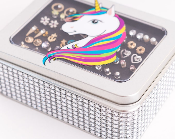 Unicorn Tin Jewelry Box - Silver Jeweled Ribbon - Earring Holder