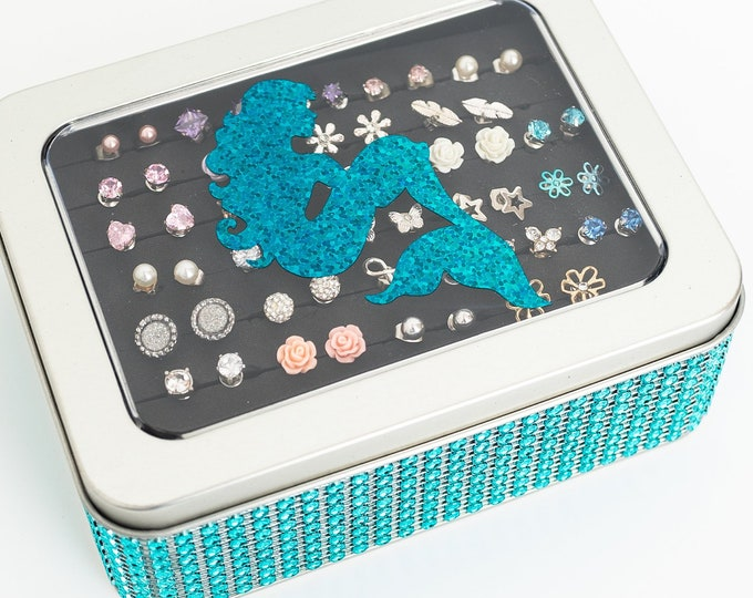 Mermaid Jewelry Box - Turquoise Jeweled Ribbon - Earring Holder - Tin Jewelry Box - Travel Tin - Gift for Girls - Jewelry Organizer