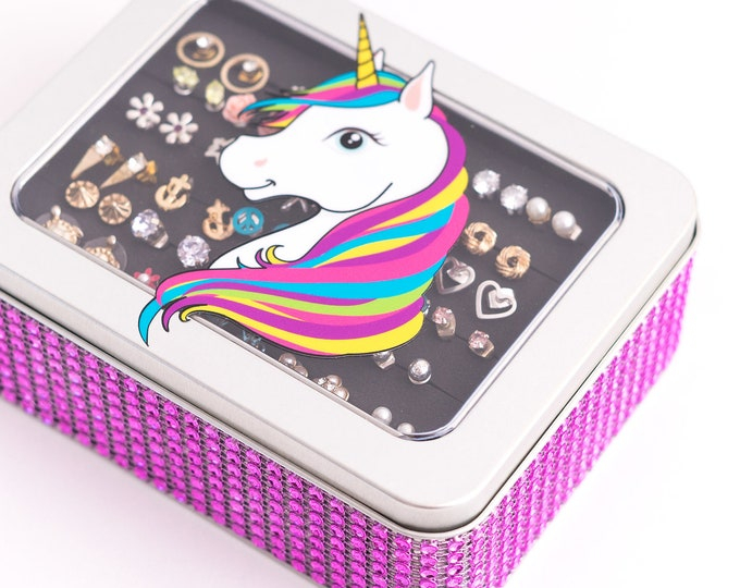 Unicorn Tin Jewelry Box - Hot Pink Jeweled Ribbon - Earring Holder
