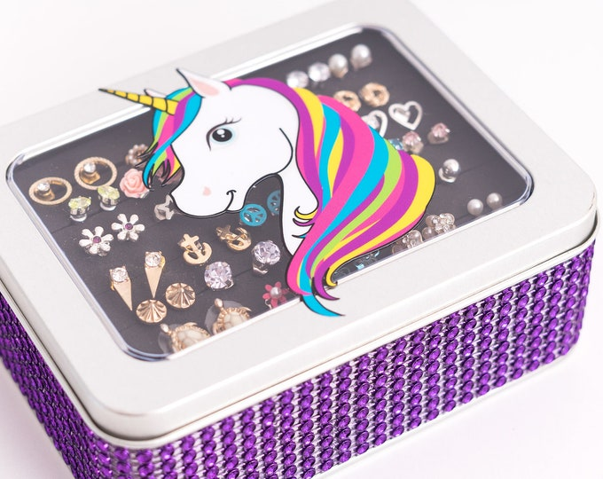 Unicorn Earring Box - Purple Jeweled Ribbon - Earring Holder