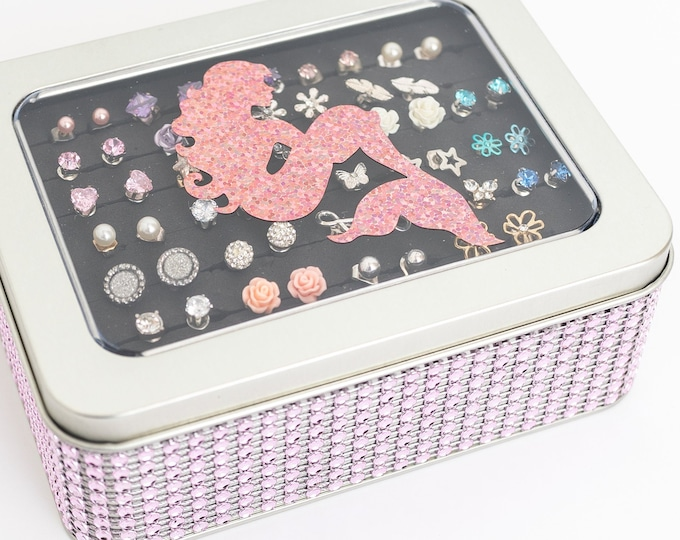 Mermaid Jewelry Box - Light Pink Color - Jeweled Ribbon - Earring Holder - Travel Tin - Jewelry Organizer - Gift for Girls