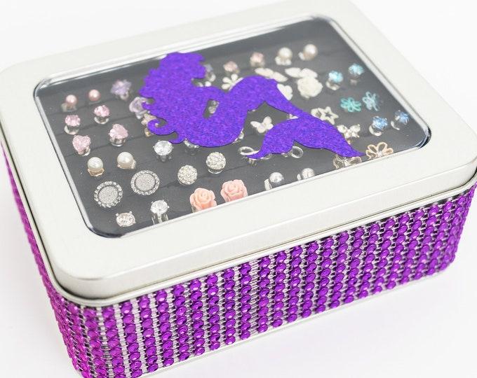 Mermaid Jewelry Box - Purple Color - Jeweled Ribbon - Earring Holder - Travel Tin - Jewelry Organizer - Gift for Girls - Earring Organizer