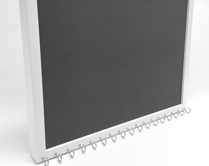 Ultimate Jewelry Organizer - 13x17 White Frame - Earring Holder & Display - 17 Necklace Hooks