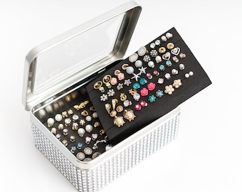 Tin Jewelry Box - Silver Dazzled Ribbon - Extra Insert -  Travel Earring Tin