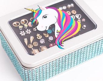 Unicorn Tin Jewelry Box - Turquoise Dazzled Ribbon - Earring Holder