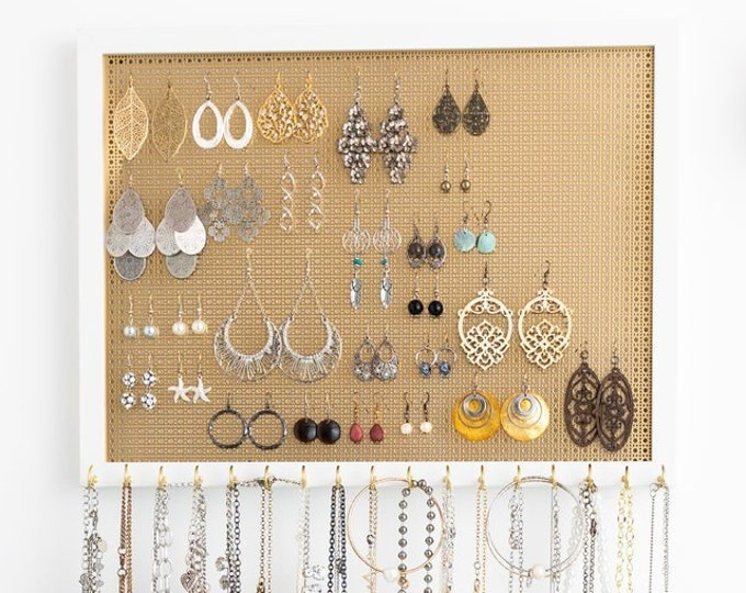 13X17 Ultimate Hanging Jewelry Organizer - Gold Metal Screen - White Frame - Hook Earring Holder & 17 Necklace Hooks