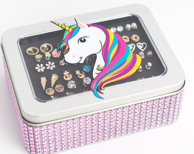 Earring Jewelry Box - Unicorn Tin Box - Light Pink Ribbon