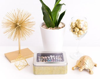 Tin Jewelry Box - Gold Dazzled Ribbon - Earring Holder - Travel Jewelry Box