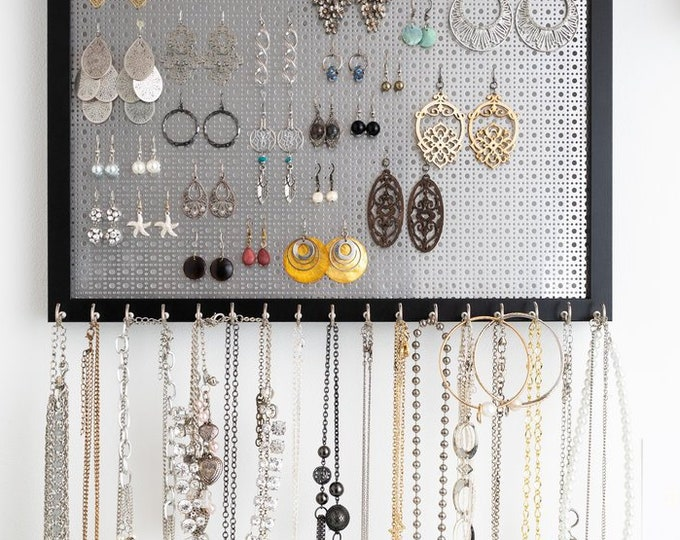 13x17 Ultimate Hanging Jewelry Organizer - Black Frame - Silver Metal Screen for Hook Earrings - 17 Hooks for Necklaces