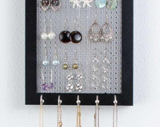 Hook Earring & Necklace Organizer - 5x7 Black Frame - Metal Screen - Necklace Holder