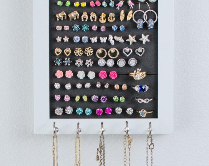 Hanging Jewelry Frame - 5x7 White - Foam - Necklace Hooks