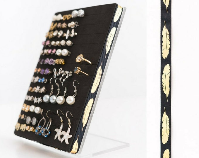 Stud Earring Organizer - Gold Feather Ribbon - Earring Display
