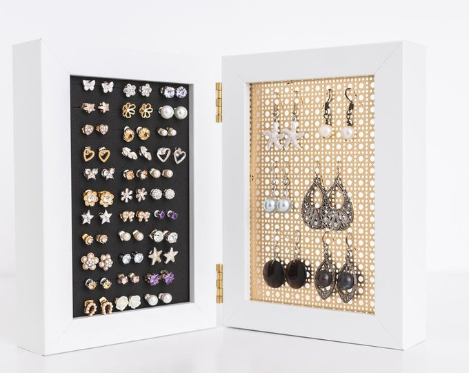4x6 White Framed Earring Holder - Gold Metal Screen - Hook & Stud Earring Organizer - Standing Earring Display - Keep Earring Backs ON!