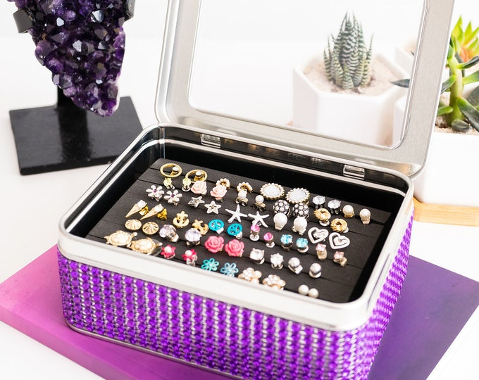 Tin Jewelry Box - Purple Jeweled Ribbon - EXTRA INSERT - Travel Tin Box