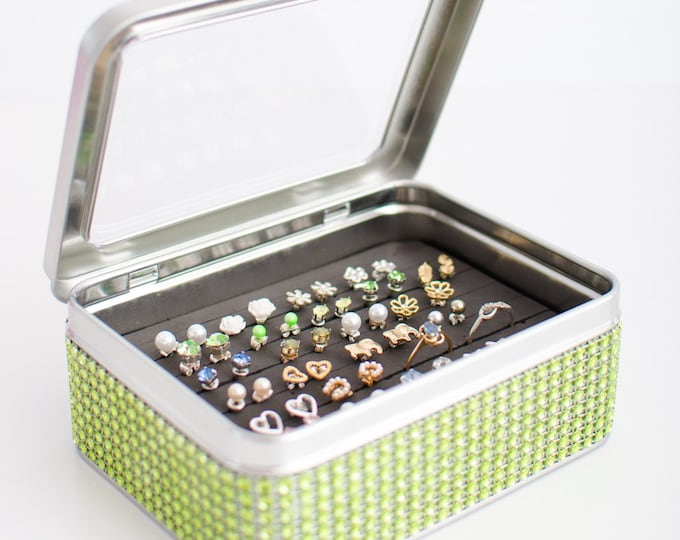 Tin Jewelry Box - Green Dazzled Ribbon - Travel Jewelry Box