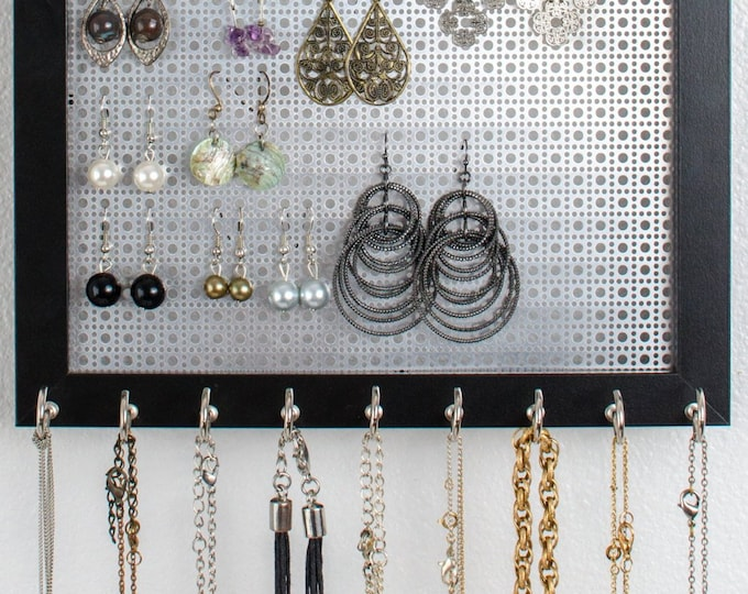 Hanging Jewelry Organizer - Silver Metal Screen - 8x10 Size - Black Frame - Hook Earring & Necklace Organizer