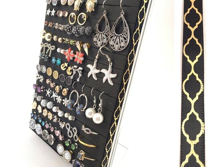 Post Earring Organizer - Gold Quatrefoil Ribbon - Hook & Stud Earring - Leave the Backs on!