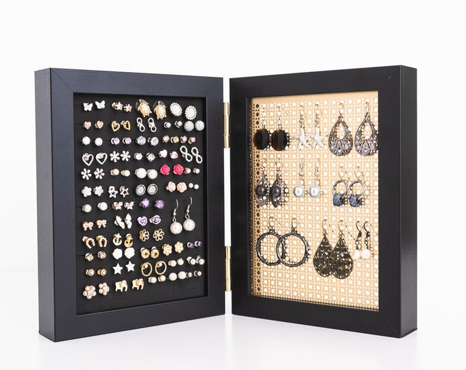5x7 Framed Earring Holder - Black Frames - Gold Metal Screen - Stud & Hook Earring Organizer - Keep Earring Backs ON!